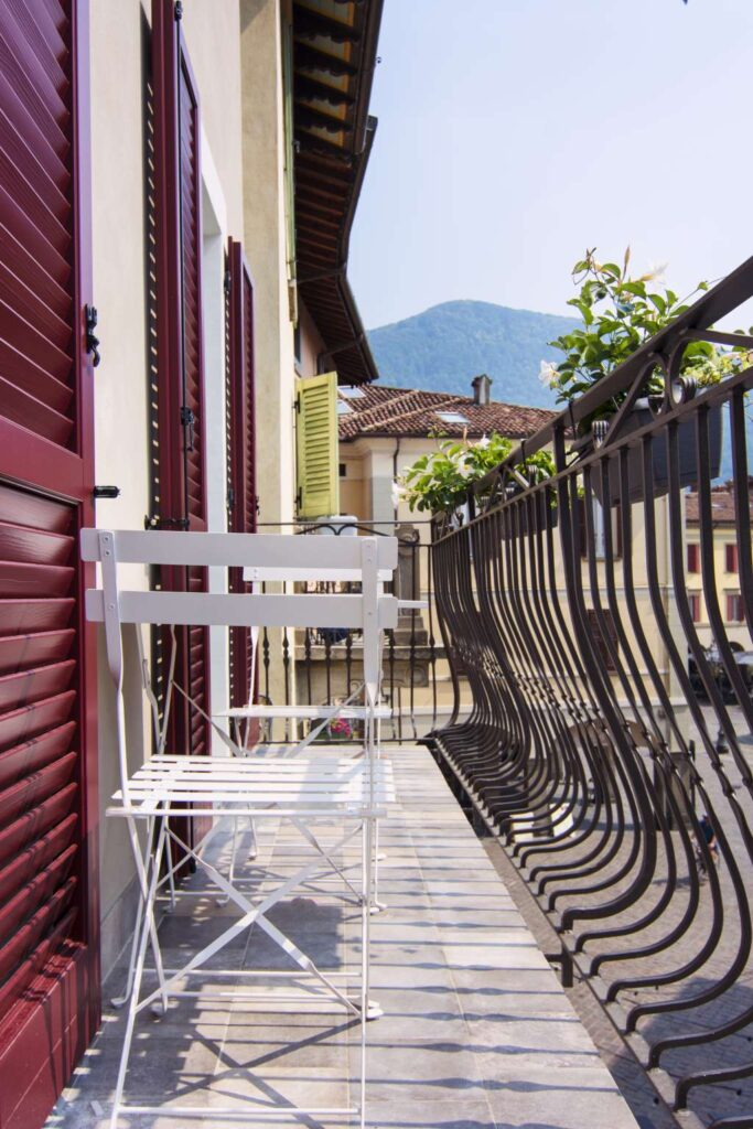 our furnished balconies feature two chairs and a small table